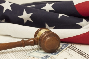 American Flag and Gavel - U.S. Citizenship